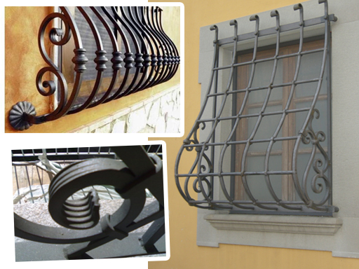 Inferriata spanciata metal florence serramenti porte infissi for Grate in ferro battuto immagini